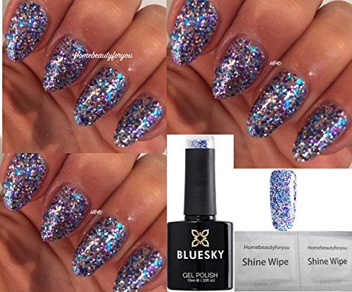 Bluesky SP11 Vernis à ongles UV/LED Paillettes bleues, violettes et argentées 10 ml + 2 lingettes brillance Homebeautyforyou