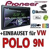 VW Polo 9N - Pioneer FH-X720BT - 2DIN USB Bluetooth CD Autoradio Apple iPod/iPhone-Direktsteuerung - Einbauset