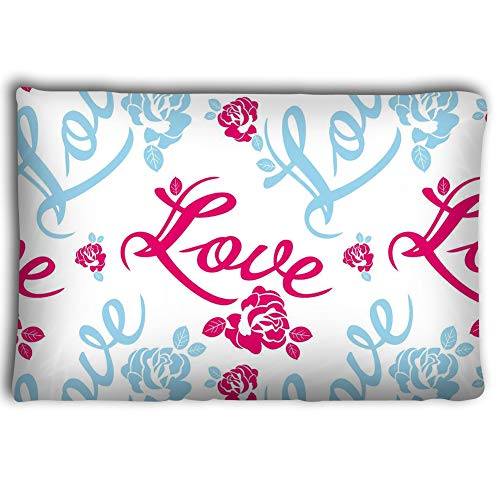 Dengtashi Pillow Cases Seamless Pattern Single Word Love Roses Silhouettes Raster Clip Art 20 * 30inch