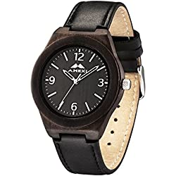 AMEXI Handmade men's watches with Leather band wooden watches for men 38mm case