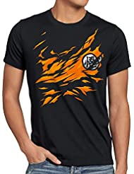 style3 Poitrine Goku T-Shirt Homme songoku dragon z super saiyan turtle ball