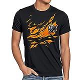 style3 Goku Brust T-Shirt Herren songoku dragon z super saiyan turtle ball, Größe:M, Farbe:Schwarz