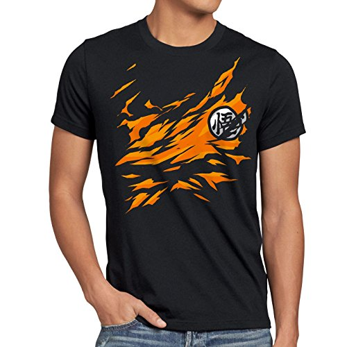 style3 Goku Petto T-shirt da uomo songoku dragon z super saiyan turtle ball, Dimensione:XL;Colore:Nero