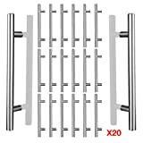 AWinEur - Tiradores para puerta de armario de cocina, 20 unidades, cromo cepillado, tiradores para armario de dormitorio