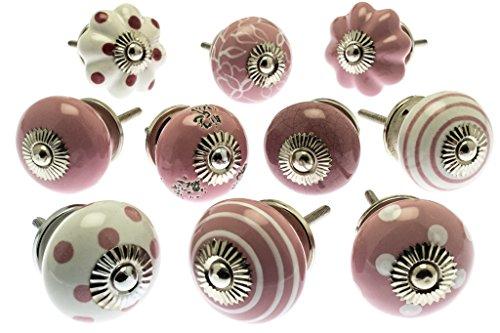 Gemischt Set mit rosa & weiß Schrankknöpfe aus Keramik x 10 (MG-202) - \'Vintage-Chic\' TM Produkt