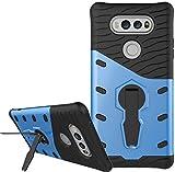 LG V20 Hülle, Nnopbeclik Hybrid 2in1 TPU+PC Schutzhülle Cover Case Rüstung Armor Muster Handytasche Backcover 360-Grad-Drehung ständer stoßfest Handy Hülle Anti-Rutsch Anti-Tropfen Protective Tasche Schutz Etui Schale Bumper Pour LG V20 [Blau] -