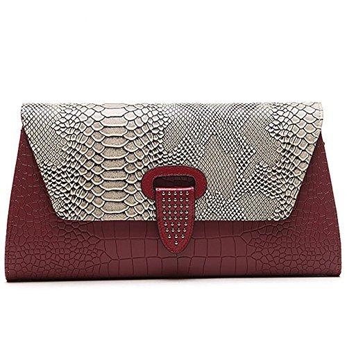 Einzel Schultertasche Modern Echtes Leder Handtasche Damentasche Umschlag Paket Bankett Tasche (Rot) (Bankett-tasche)