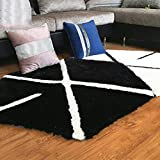 WEI Trends Persönlichkeit Mode Teppich Korb Buch Computer Stuhl Teppich Teppich Eingang Wohnzimmer Kaffeetisch Teppich,120 * 120 cm,Schwarz