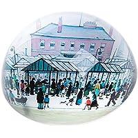 Pisapapeles de cristal abovedado, diseño de escena de mercado L S Lowry