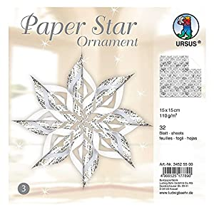 Ursus 34525500-Paper Star Ornament 3, para 4Estrellas en el tamaño Aprox. 40x 40cm, Plata