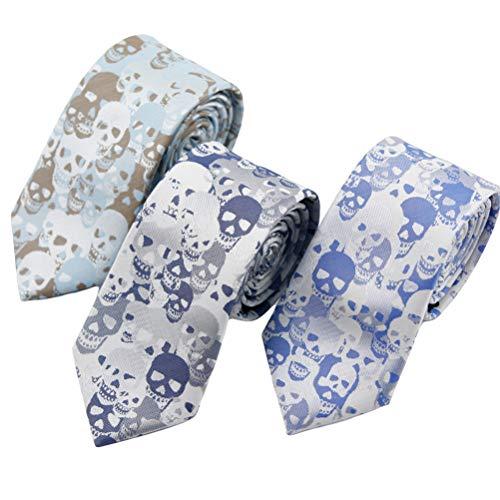 MOHSLEE Unisex-Krawatte, Skelett, Totenkopf-Motiv, 3 Stück - mehrfarbig - Einheitsgröße