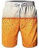 Goodstoworld Herren Beach Shorts 3D Bunte Bier Gold Beer Grafik Badehose Hässliche Lustige Strand Shorts Laufende Schwimmen Beiläufige Kurze mit Einstellbare Kordelzug XL