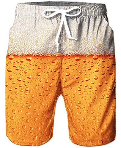 Goodstoworld Badeshorts für Herren Jungen Männer Bier Gold Beer Badehoses Schnelltrocknend Schwimmhose Boardshorts Strand Shorts Trainingshose mit Mesh Futter L