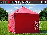 Dancover Tente Pliante Chapiteau Pliable Tonnelle Pliante Barnum Pliant FleXtents Pro 3x3m Rouge, avec 4 cotés