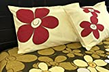 Premium Designer Crafted Applique work Floral Red and Yellow 100% pure cotton luxury super king bedsheet - 225 TC
