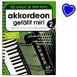 Akkordeon mi piace 2 - da Bruno Mars a Skyfall - Il libro per fisarmonica, leggermente arrangiato - libro con clip a forma di cuore colorato - VHR1855 9783864340796