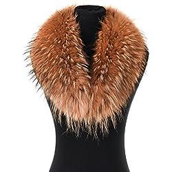 Cuello de Piel de Mapache Real, Elegante Y Desmontable, Ideal para Sus Trajes en Invierno - Mujer - Camello - Longitud: 80 cm