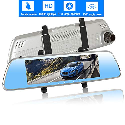Mengen88 Car Driving Recorder,8-Zoll-IPS-Touch-Screen-Display 170°Wide Angle Mirror 1080P Full HD Car Dual Lens mit G-Sensor Parking Monitor Motion Detection Wide-touch-screen