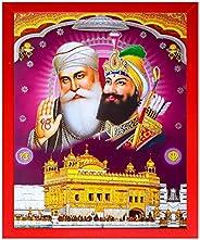 Shree Handicraft Guru Nanak Dev Ji with Govind Singh ji Red Photo Frame Painting Photo Frame(26 cm x 32 cm x 1