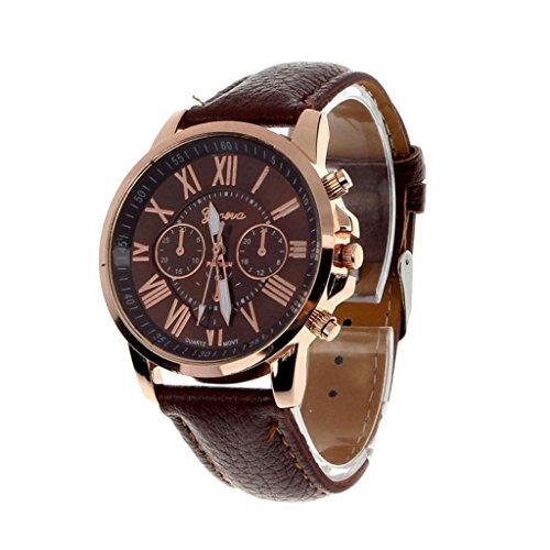 Valentinstag Uhren Dellin Neue Damenmode Genf römischen Ziffern Kunstleder analoge Quarz-Armbanduhr (braun)