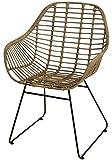 Korb-Sessel im Retro-Stil aus echtem, unbehandelte, Rattan mit Eisen-Fußgestell (Grau Natur)
