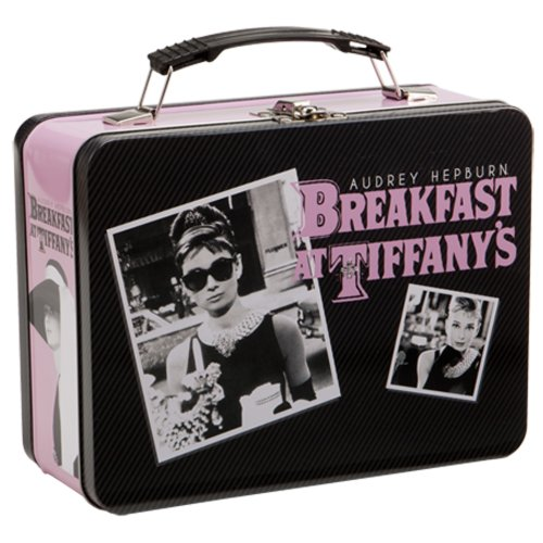 Vandor Audrey Hepburn Breakfast at Tiffany's Large Tin Tote, 7 by 22.9cm by 8.9cm , Black, Pink and White, Large, Breakfast at Tiffany's