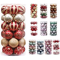 Valery Madelyn 30Pcs Bolas de Navidad de 6cm, Adornos de Navidad para Arbol, Decoración de Bolas Navideños Inastillable Plástico de Rojo y Dorado, Regalos de Colgantes de Navidad