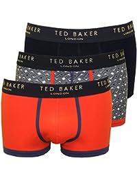 Boxeador Troncos Del Ted Baker 3-pack Llano Y Geo Impresión Hombres, Azul/naranja/azul Marino