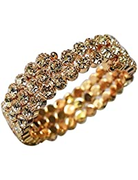 AyA Fashion Designer Cubic Zirconia Studded With Golden Base Free Size Bracelet Suitable For Women And Girls |...