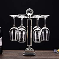 Elegant Desktop Crystal Glass Stemware Rack/Rotate 6 Wine Glass Storage Holder Stand Air Drying Rack(No included wineglass)(Medium)