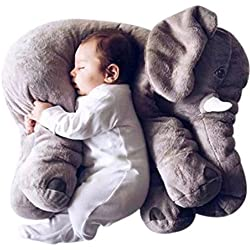 OAMORE Elephant Peluches Coussin Elephant Oreiller Throw Coussin éléphant Dormir farcies Peluche Oreillers Peluches Peluches pour Bebe et Enfants (Gris, L)