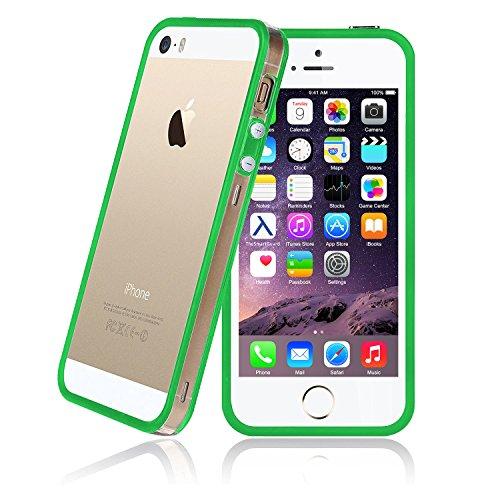 iPhone 5-5s-SE Bumper Schutz-Hülle im stylishen 2-Color Look für das iPhone SE 5 und 5s (4 Zoll) -Nur original von THESMARTGUARD- Farbe: Orange Grün