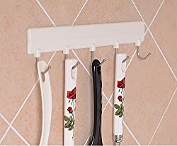 1 Piece Multipurpose Self Adhesive Hook Strip with 5 Hooks and 2 Screws - Load Capacity upto 2Kg.