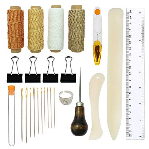 DIY Buchbinde-Set und Nähzubehör I Buchbinder-Set, Starterwerkzeug-Set I Lederarmband-Bastelset I inklusive Knochenmappe, Papier-Roller, Griffahle, Fadenschneider,...
