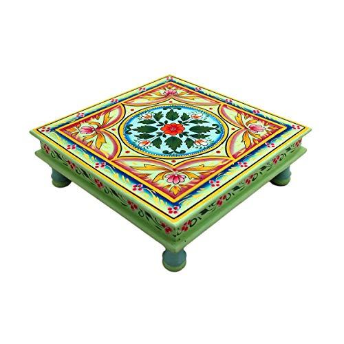Gall&Zick Mesa Auxiliar (sofá Mesa Mesa Decorativa Magoroku Madera/pintadas a Mano con Motivos orientales de Madera MDF Indio Mano decoración Mandala