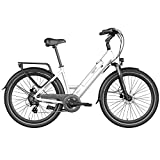 Legend Milano Vélo Électrique Urbana Smart eBike Roues de 26 Pouces, Batterie 36V 10.4Ah (374.4Wh), Blanc Artic