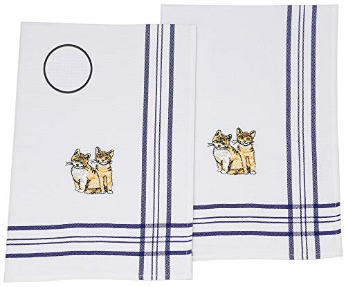 Betz Lot de 2 torchons de Cuisine en Tissu piqué, Bleu, avec Broderie Chats Taille 50 x 70 cm