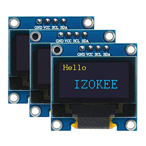 IZOKEE Pantalla OLED LCD I2C IIC Interfaz 128x64 Píxeles 0.96 Pulgadas Chip SSD1306 para Arduino Raspberry Pi, Serie 51, Serie MSP430, STIM32 / 2, SCR (Amarillo-Azul IIC)