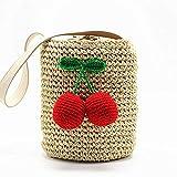 NEM.KR Cherry Pompon Sommer Stil Zylinder Handtaschen böhmischen Boho indischen Haar Stroh Thai...