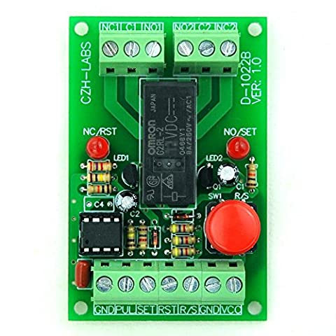 ELECTRONICS-SALON Panel Mount Momentary-Switch/Pulse-Signal Control Latching DPDT Relay Module,24V