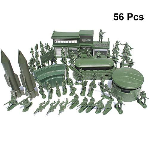 YeahiBaby Militare di Plastica Soldato Modello Giocattolo Soldatini Armi Soldato Figure Accessori Kit per Bambini 56pcs