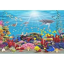 Cassisy 2,2x1,5m Vinilo Submarino Telon de Fondo Panorama de Especies Marinas Arrecife