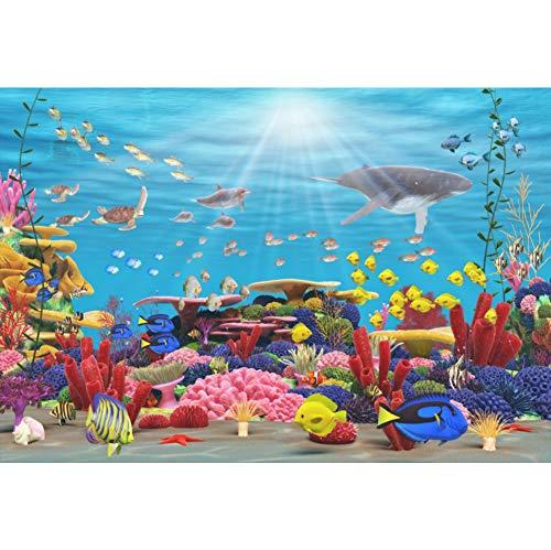 Cassisy 2,2x1,5m Vinyl Unterseeisch Fotohintergrund Marine Arten Panorama Korallenriff Sonnenstrahl Fotoleinwand Hintergrund für Fotostudio Requisiten Party Photo Booth
