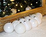 SET 30er Christbaumkugeln Weihnachtsbaumkugeln WEISS Kugel bruchfest Weihnachten 6 cm Ø (1)