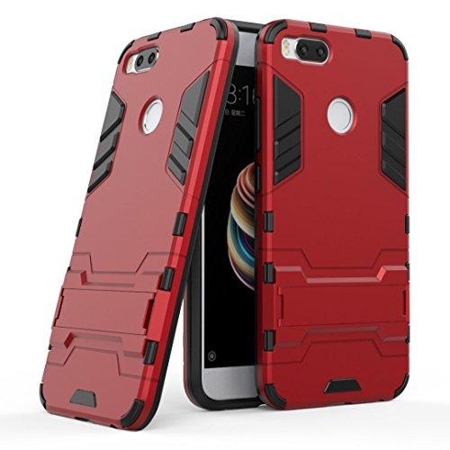 GOGME Funda para Xiaomi Mi 5X, Soporte Plegable Case, Rojo