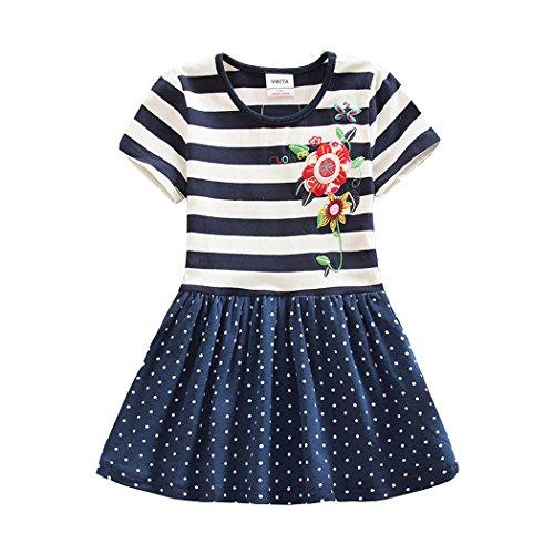 NEAT Mädchen 2017 Kurze Ärmel Baumwolle Kleid 3-8 Jahre SH5908Navy 8T (Punkt-kragen-weiß-boden)