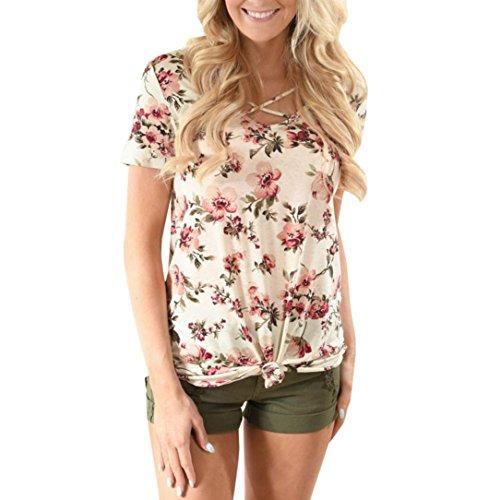 Billabong Mädchen Tank Top (Sannysis Damen Blumen Drucken Kurzarm V-Ausschnitt Bluse Tops (Beige, S))