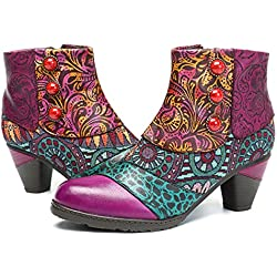 Socofy Botines De Cuero, Zapatos De Invierno De Cuero para Mujeres Botas Oxford Ocasionales Botines Cálidos con Botas De Bohemia Zapatos De Tacón De Cuero con Tacón