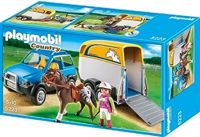 Playmobil 5223 - Granja: vehículo + remolque ponis por Playmobil