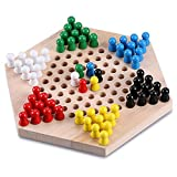 Trinkets & More Wooden Chinese Checkers Hexagon Board With Wooden Marbles ,3+ Age